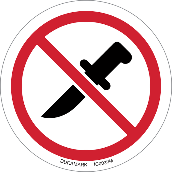 ISO safety label - Circle - Prohibited - No Knives