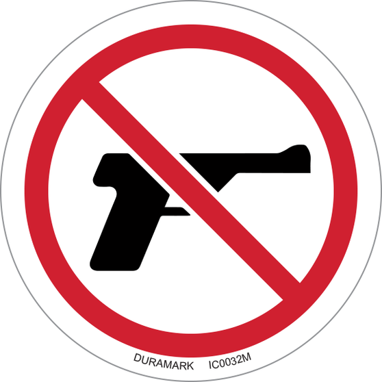 ISO safety label - Circle - Prohibited - No Guns