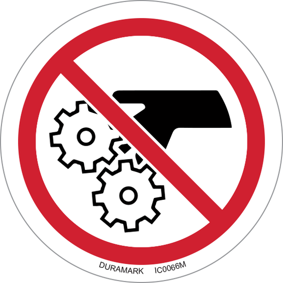ISO safety label - Circle - Prohibited - Pinch Point Gear Entanglement
