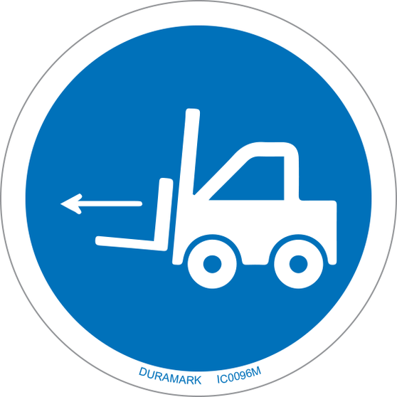 ISO safety label - Circle - Mandatory - Forklift Point - Left