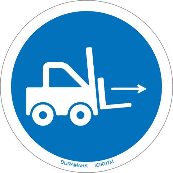 ISO safety label - Circle - Mandatory - Forklift Point - Right