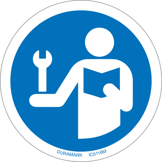 ISO safety label - Circle - Mandatory - Consult Service Manual