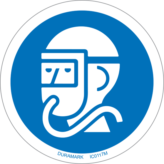 ISO safety label - Circle - Mandatory - Wear Airline Respirator