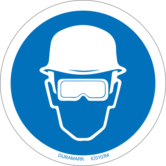 ISO safety label - Circle - Mandatory - Head And Eye Protection Required