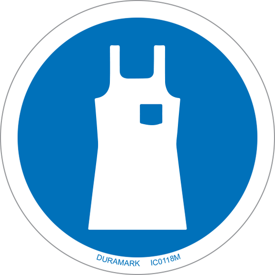 ISO safety label - Circle - Mandatory - Wear Body Protection Apron