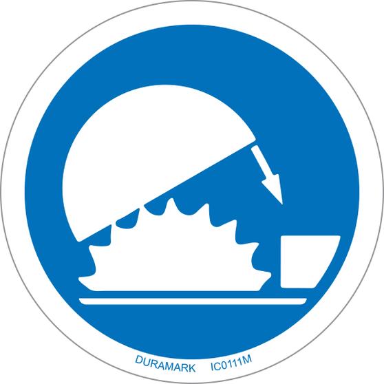 ISO safety label - Circle - Mandatory - Use Guards - Saw