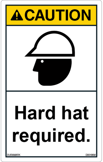 ANSI Safety Label - Caution - Hard Hat Required - Vertical