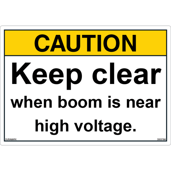 ANSI Safety Label - Caution - Keep Clear - Boom Near High Voltage