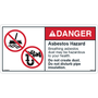ANSI Safety Label - Danger - Asbestos Hazard - Dust and Pipe