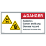 ANSI Safety Label - Danger - Asbestos Cancer and Lung Disease