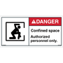 ANSI Safety Label - Danger - Confined Space - Authorized Personnel