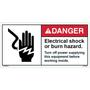 ANSI Safety Label - Danger - Electric Shock/Burn Hazard - Turn Off Power