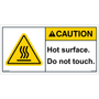 ANSI Safety Label - Caution - Hot Surface - Do Not Touch