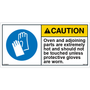 ANSI Safety Label - Caution - Hot Oven and Parts - Wear Gloves