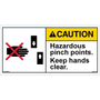 ANSI Safety Label - Caution - Hazardous Pinch Points - Keep Hands Clear - Prohibition
