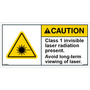ANSI Safety Label - Caution - Laser Radiation - Class 1