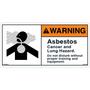ANSI Safety Label - Warning - Asbestos - Cancer/Lung Hazard