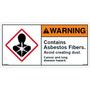 ANSI Safety Label - Warning - Asbestos Fibers