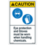 Caution - Chemical Safety - Eye Protection/Gloves - Vertical