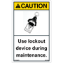 ANSI Safety Label - Caution - Lockout - Maintenance - Vertical