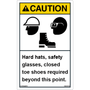 ANSI Safety Label - Caution - Hard Hat/Safety Glasses/Closed Toe Shoes - Vertical