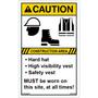 ANSI Safety Label - Caution - Hard Hat/High Visibility Vest/Safety Vest - Vertical