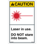 ANSI Safety Label - Caution - Laser in Use - Do Not Stare - Vertical
