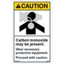 Caution - Carbon Monoxide Present - Wear Protective Equipment - Vertical