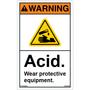 ANSI Safety Label - Warning - Acid - Wear Protective Equipment - Vertical