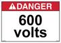 ANSI Safety Label - Danger - 600 Volts - Horizontal