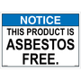 ANSI Safety Label - Notice - Asbestos Free