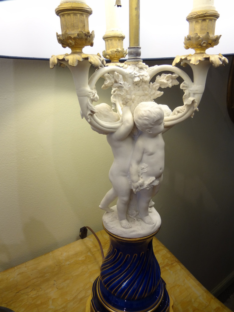 Antique Sevres Biscuit / Bisque Lamps  Pair