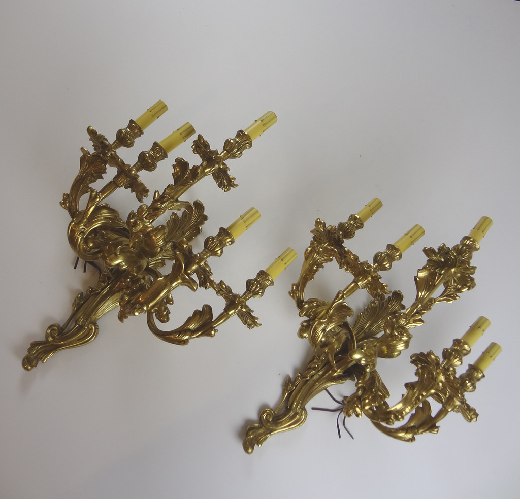 Beautiful Electrified Brass Wall Sconces