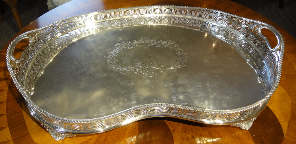Large Kidney Shaped Silverplate Sheffield Service Tray
