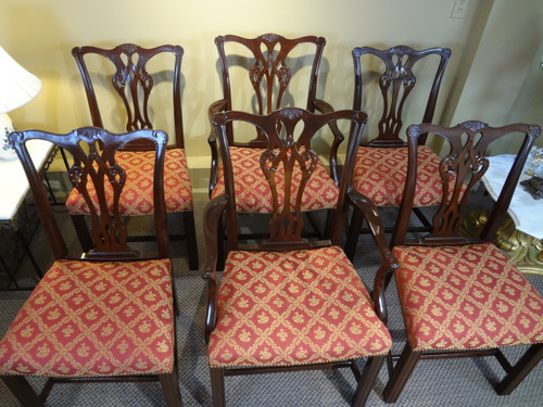 Set of Six Chippendale Style Dining Room Chairs