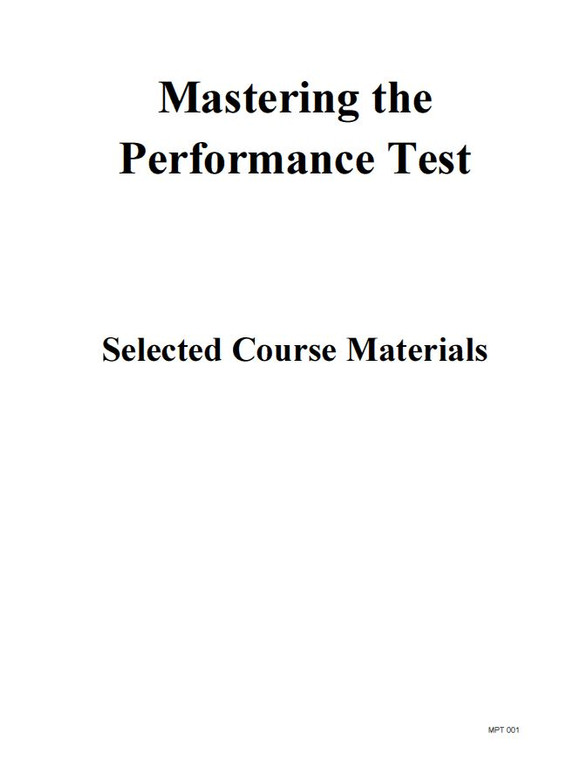 MASTERING THE PERFORMANCE TEST SELECTED COURSE MATERIALS