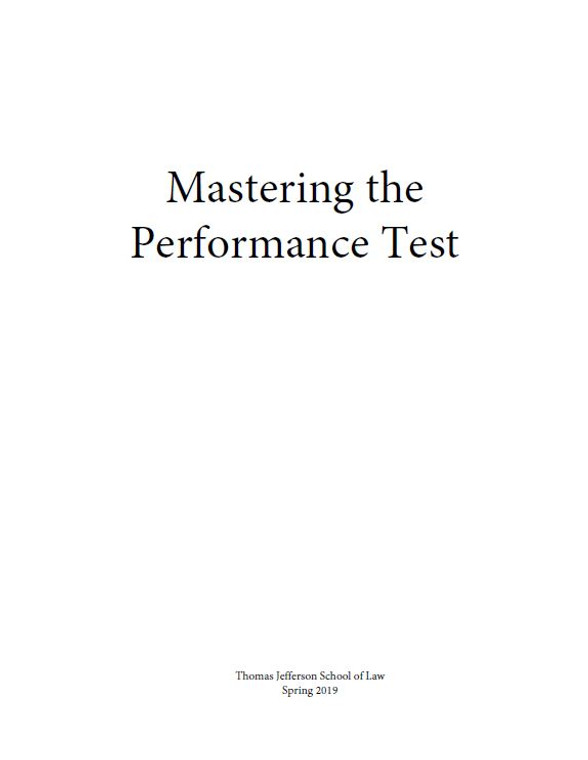 MASTERING THE PERFORMANCE TEST SELECTED COURSE MATERIALS SPRING 2019