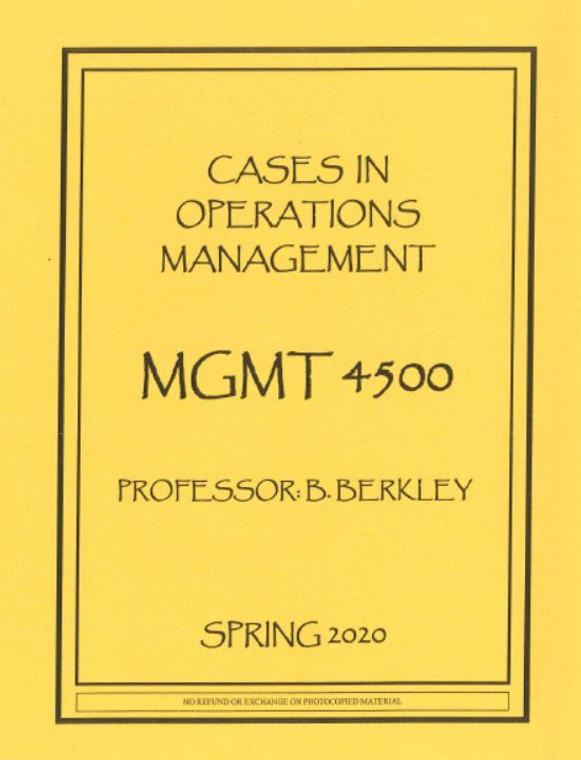 BERKLEY'S MGMT 4500 (SPRING 2020)