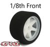 Hot Race 1:8 Front Tires - White Wheels