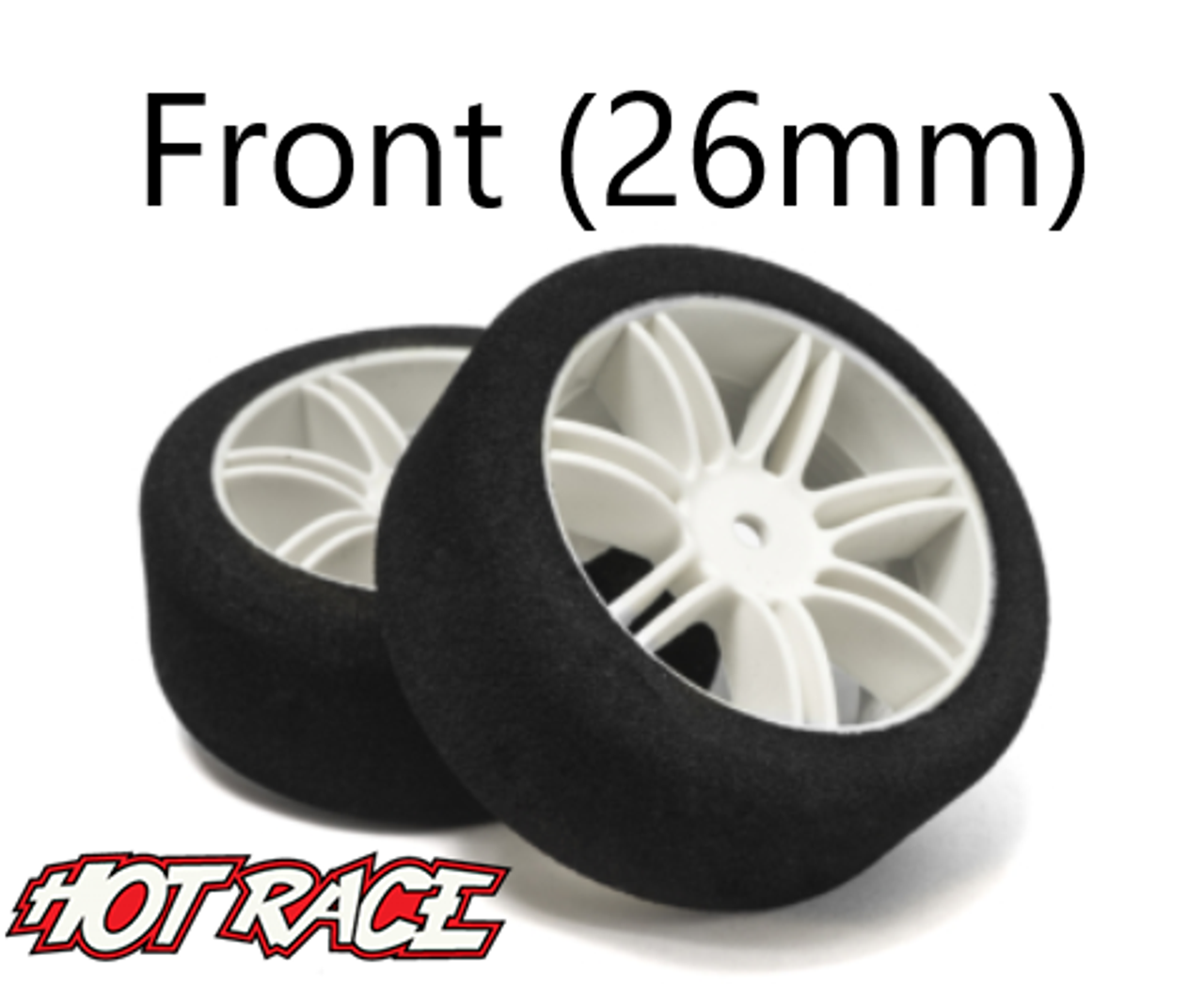 Hot Race 1:10 Front Tires - White Wheels