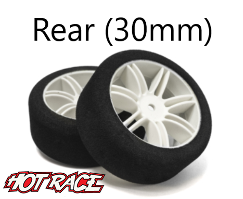 Hot Race 1:10 Rear Tires - White Wheels