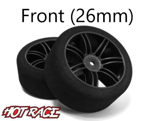 Hot Race 1:10 Front tires -  Carbon Wheels