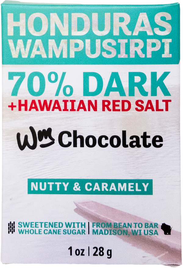 Honduras, Wampusirpi - 70% Dark + Hawaiian Red Salt Bar