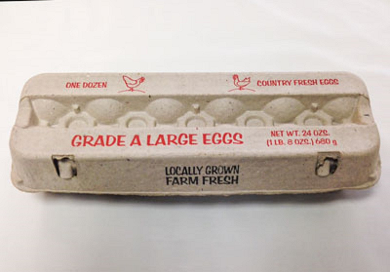 2x6 Large Grade A Printed Cartons       25 Pack of 12 count 2x6 Grade A Large Egg Carton.     You will receive the one in the picture, not a bunch of different misprinted ones.     These are not seconds and are certainly not used.     Recycled Paper Cartons, not foam.     Fast shipping.