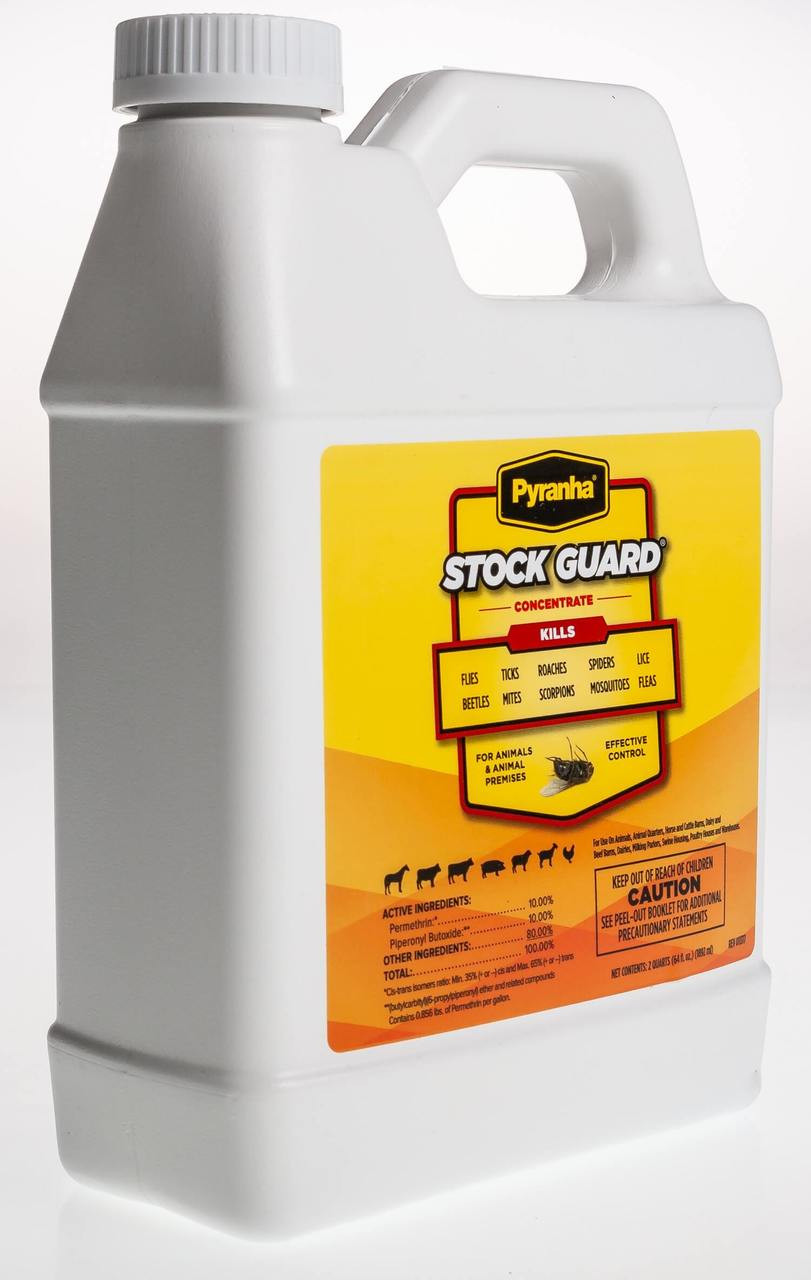 Pyranha® Stock Guard Concentrate is a fly spray for use on horses, beef and dairy cattle, sheep, goats, swine, poultry and dogs. It may also be used as a premise spray, and in automatic spray systems or foggers. Pyranha® Stock Guard Concentrate provides quick knockdown and long-lasting control of stable flies, horse flies, horn flies, house flies, deer flies, mosquitoes, gnats, lice, fleas, ticks, mites, crickets, cockroaches, silverfish and spiders. Especially convenient for barns, dairies, and kennels. Contains permethrin and piperonyl butoxide. Supplied as 64 oz bottle.