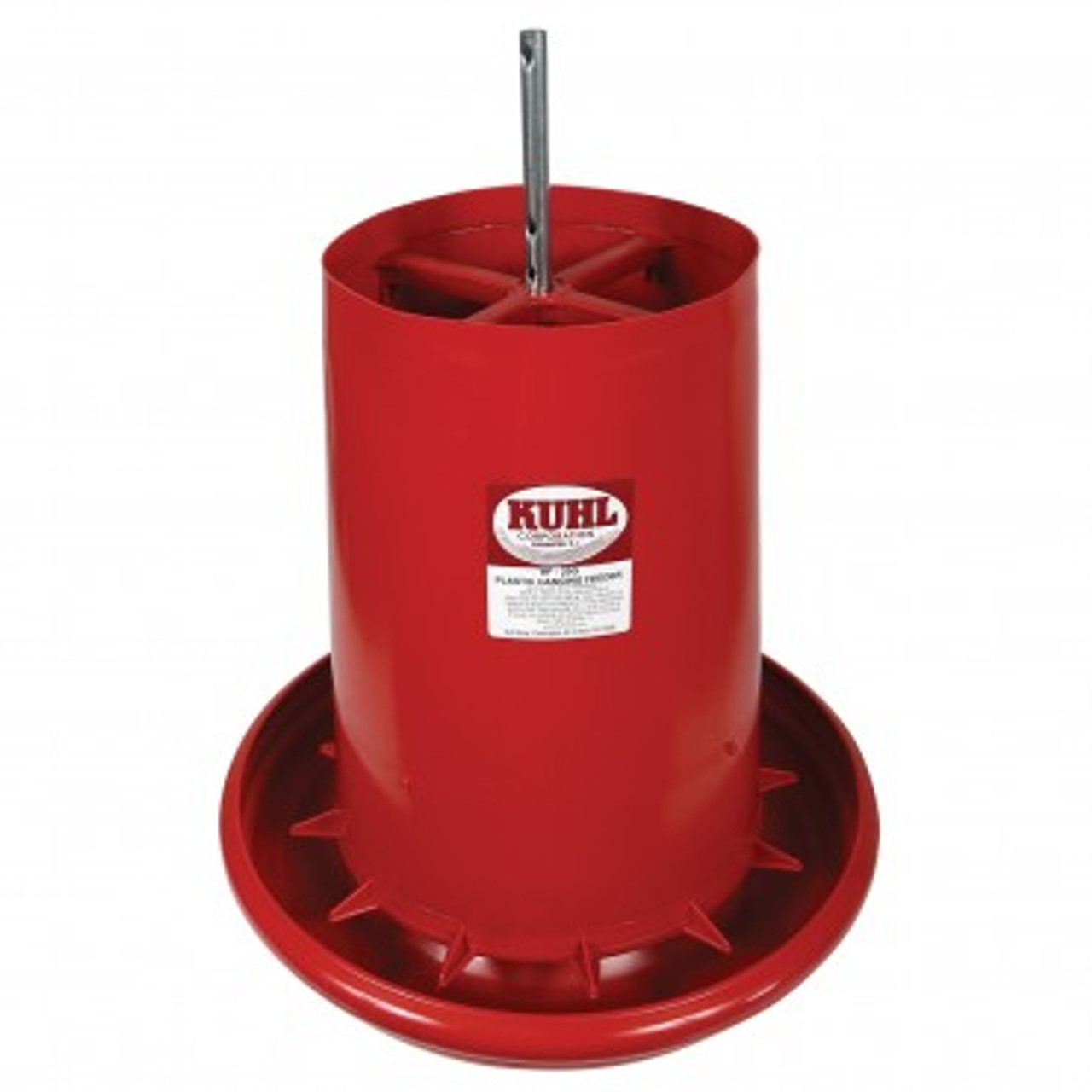 """This KUHL Plastic Hanging Feeder has a built-in grill that reduces wasted feed. Each unit is constructed of heavy-duty polyethylene plastic material for multiple seasons of trouble-free use. Specifications: Dimensions of the Pan: 2 3/4"""" H x 17 1/4"""" Diameter with a 5/8"""" rounded lip Capacity: 35 lbs."""