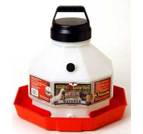 This large-capacity Automatic Poultry Waterer features a vacuum-sealing O-ring cap that creates an automatic water flow. Made of dent-proof, heavy-duty translucent plastic that allows you to see the water level. The easy-to-fill jar snaps compactly onto the base, and the rugged handle makes transport around the yard easy. This is a durable unit that will stand up to plenty of use. 16 inch-diameter octagon by 14.75 inch high, holds 3 gallons.      Large-capacity Automatic Poultry Waterer with vacuum-sealing O-ring cap creates an automatic water flow     Dent-proof, heavy-duty translucent plastic allows view of water level     Easy-to-fill jar snaps onto base     Rugged handle makes transport easy     Holds 3 gallons