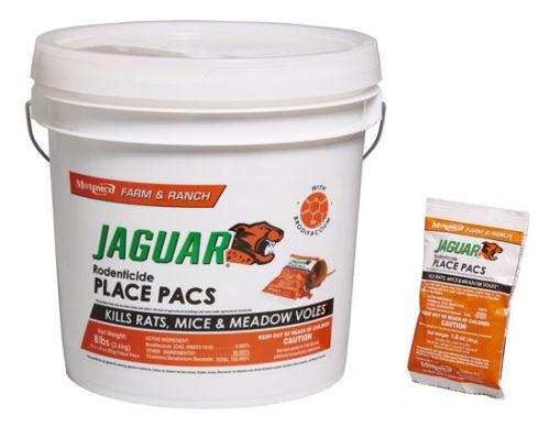 Motomco Jaguar Rat & Mice Bait Pellet Place Packs Bucket 73 x 1.8 OZ 8 Lbs
