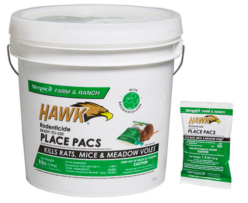 Hawk Rodenticide RTU Place Pacs Pelleted Bait in easy to use Place Pacs Hawk Rodenticide Ready-to-Use Place Pacs have been an industry standard for many years, combining proven palatability and rodent acceptance with a formula that can kill rats and mice after a single feeding.  Hawk baits are made with the active ingredient Bromadiolone, a second-generation anticoagulant.  Hawk Rodenticide  Place Pacs are excellent for every day use in and around agricultural buildings and man-made agricultural structures, with proven palatability in a formula preferred by pest control professionals and ag producers.  Use Hawk Place Pacs in a rotational program for up to 6 months, especially for regular  maintenance baiting during spring & summer.  Hawk Place Pacs contain 1.5 oz of pelleted bait in pre-measured, ready-to-use Pacs.  Place Pacs keep pellets fresh and free from contamination until rodents open the pacs with their gnawing and are excellent for tight spaces and hard to reach areas.  - Made with the active ingredient Bromadiolone, a second-generation anticoagulant.   - Rats and mice may consume a lethal dose in one night's feeding with first dead rodents appearing 4-5 days after feeding begins  - Industry standard for palatability and control   - Use Hawk Place Pacs in a rotational program for up to 6 months, especially for regular maintenance baiting during spring & summer.  - Place Pacs contain 1.5 oz of pelleted bait  - Excellent for tight spaces and hard to reach areas.   - Place Pacs keep bait fresh and protect the pellets from dirt, dust and moisture.