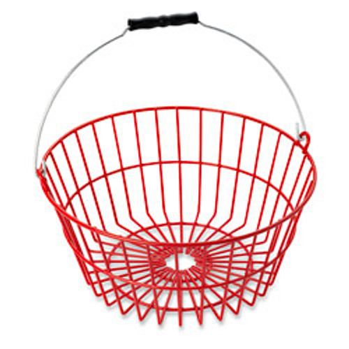 "Made of heavy wire securely welded at every joint. Continuous feet around base allow air flow under basket for fast cooling of eggs. Thick, plastic coating cushions eggs and reduces breakage...will not mark eggs. Will not deteriorate with detergents or extreme temperatures. Holds 7 dozen chicken eggs.    13"" top diameter, 9-3/4"" bottom diameter, 6ǃ/4"" H"